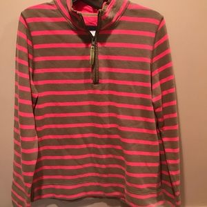 Boden sz 8 Tan & Pink 1/4 Zip Pullover